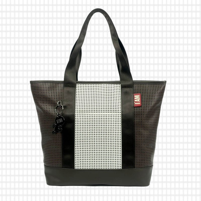 Free shipping I AM- Tote bag - rice / brown