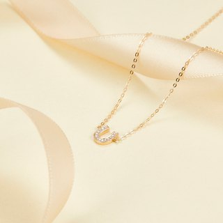 【PurpleMay Jewellery】18k Yellow Gold U Shape Diamond Pendant Necklace P014