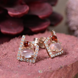 MEADOW - Rose Quartz with Garnet 18K Rose Gold Plated Silver Earring
