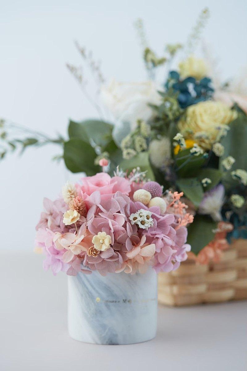 永生花 永生玫瑰 療癒小盆栽 乾燥花盆栽 粉紫色 婚禮小物 交換禮