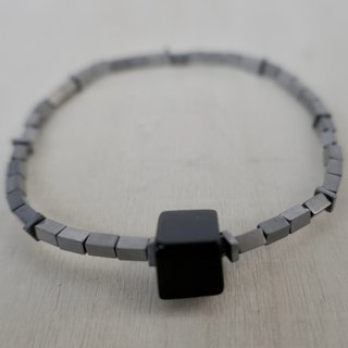 BR0386 - Natural Gemstone Bracelet - Design and Manufacture - Natural Black Onyx and Iron Ore