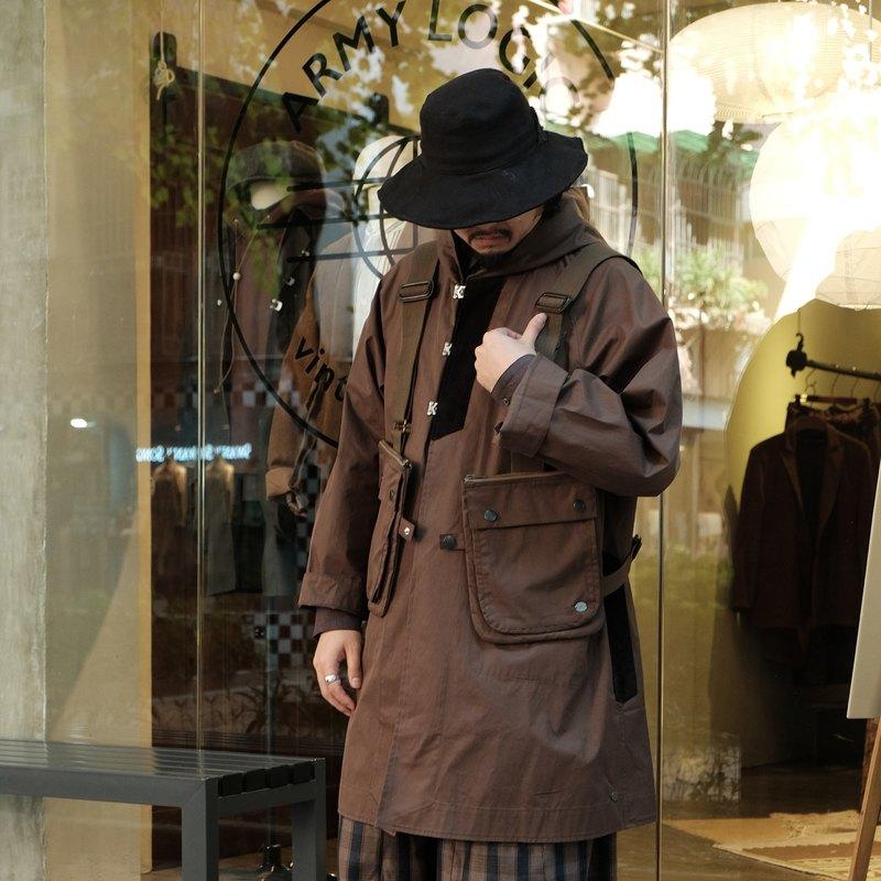 復古工裝overcoat連帽風雨大衣