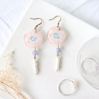 Flower Collection Handmade Earrings - Spring Snow Freshwater Pearl Sea Water Blue Stone Can Change Clip