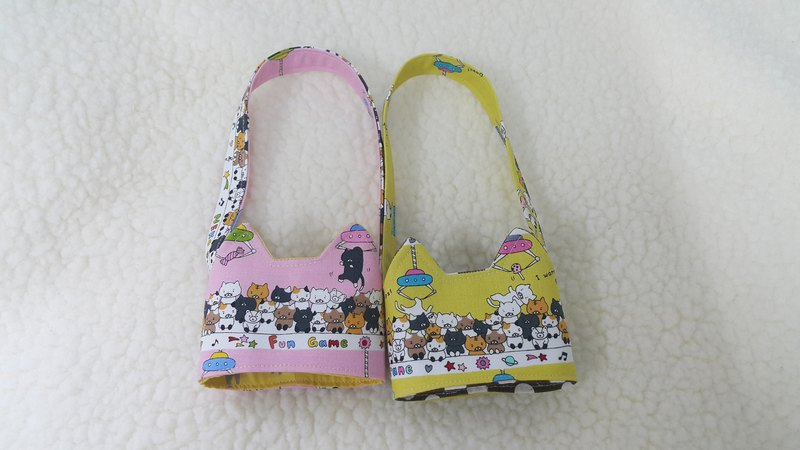 貓咪夾娃娃機/二色  貓耳朵帶著走環保飲料杯套提袋/雙面可用