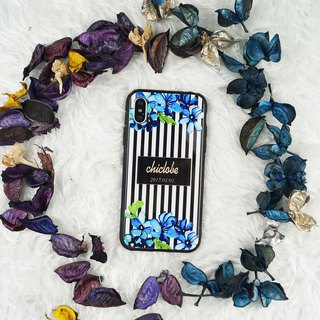 Painted tempered glass shell [line blue flower] customized name / anniversary
