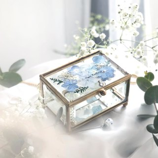 Pressedflower with Handwriting Accessory Glass Box /Blue