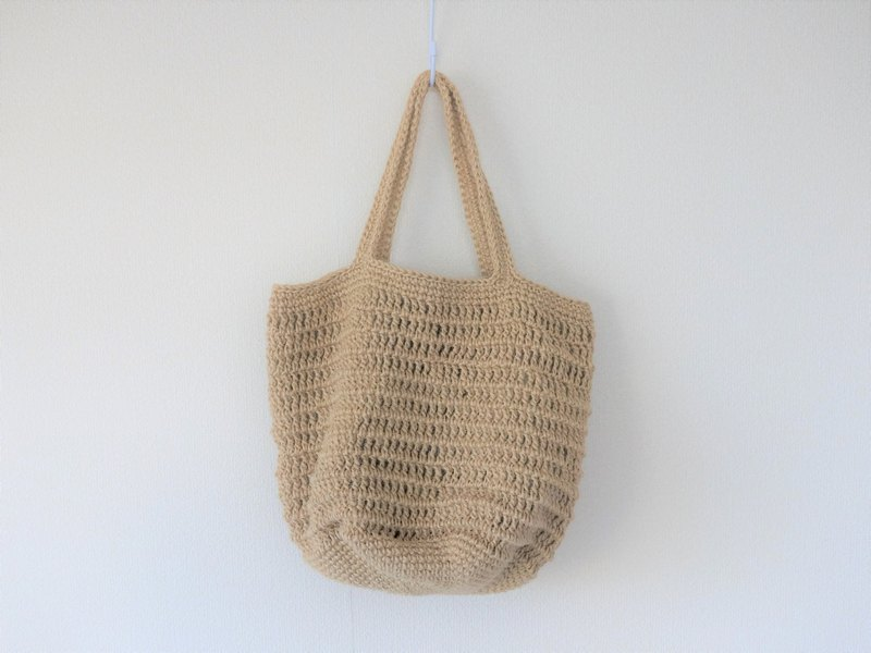 yuoworks / hand knitted tote bag / jute / shoulder bag / wavy pattern