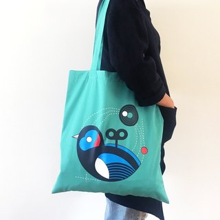 Wind Up Bird Tote-Bag (Turquoise)