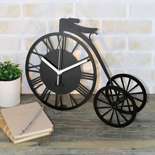 [OPUS Dongqi Metalworking] childhood time - tricycle table clock (black) / metal clock / Roman numerals