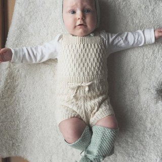 Caterpillar Hand Limited Edition Jumpsuit/ Cream/Organic Cotton/Mission Gift, Baby Photo
