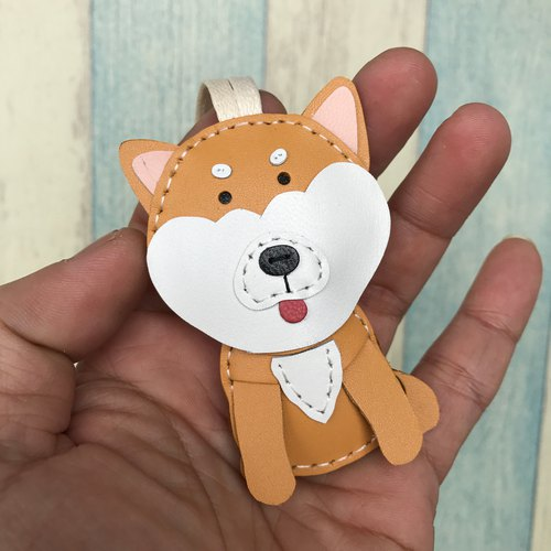 Small size - Mato the Shiba Inu cowhide leather charm ( Light Brown )