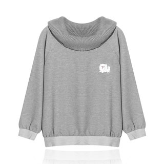 [Exclusive] angel face defining white dog / piles collar knit tops