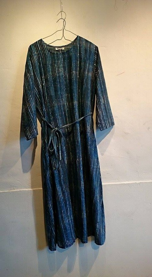 Japan design made in India woodcut blue stained cotton long dress