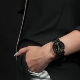 PRIME 1.0.0 Dark Hardwood Wooden Watch - Muted Black 34mm