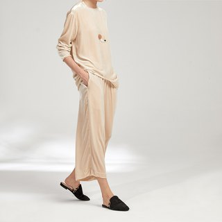 Apple GAOGUO original design early autumn velvet round neck long sleeve asymmetrical shirt jacket wide leg pants suit