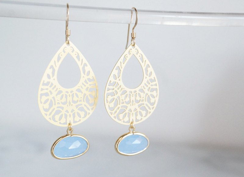【14KGF】Earrings,Filigre Teardrop (Small)-Bohemian/Sky Blue-