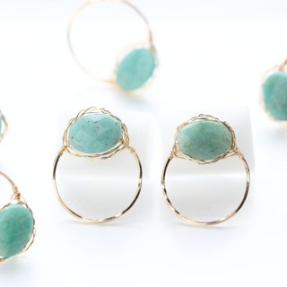 14kgf-amazonite rough wrap pierced earrings
