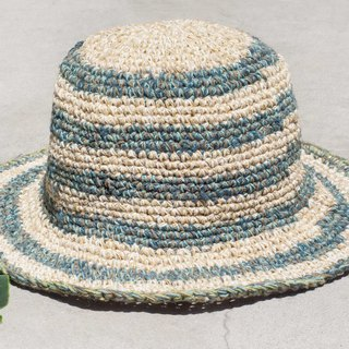 Hand-knitted cotton and linen cap knit hat fisherman hat sunhat straw hat - blue Mediterranean seaside sky