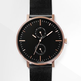 NEW! TWO-TONE BLACK x ROSE GOLD MG002 | MESH+LEATHER STRAPS SET