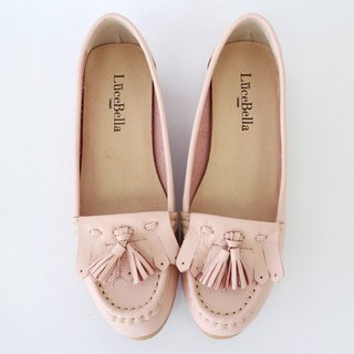【First love】tassel flat shoes-pink-handmad shoes