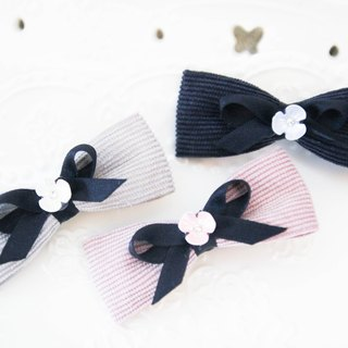Plain cotton handsome striped bangs clip