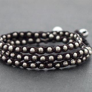 Brown Silver Cotton Waxed Cord Beaded Wrap Men Unisex Bracelets