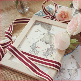 SS. 雁枫桦 7 inch double hook line watercolor hand-painted photo cartoon portrait drawing painting