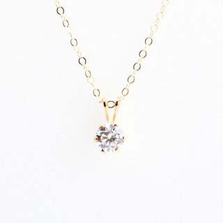 14KGF Gold-filled CZ Single Swiss Diamond Hearts & Arrows Necklace Valentine