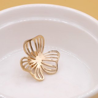 Handmade Flower Pins - Pink gold plated on brass