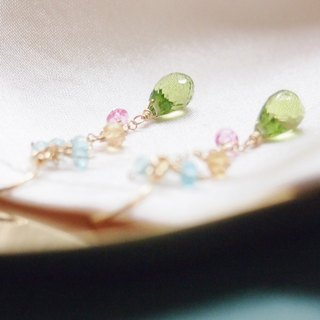 Swanlace spring fresh olivine peridot gemstone handmade 14kgf gold earrings / ear hook