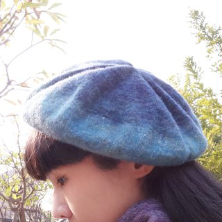 Color mixed handmade silk merino wool felt berets painter hat / starry night