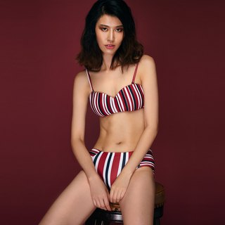 Grace - Two Piece Swimwear Color: Red Stripes (CREX104)