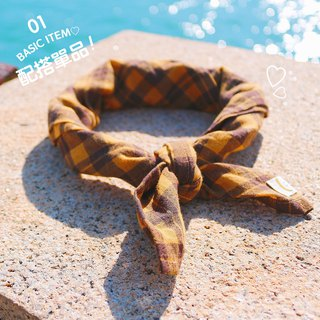 Caramel pudding color - checkered small scarf