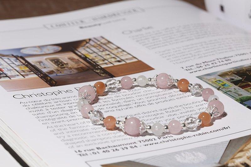 粉嫩日光彈性手鍊 粉晶太陽石月光石白水晶天然石手鍊