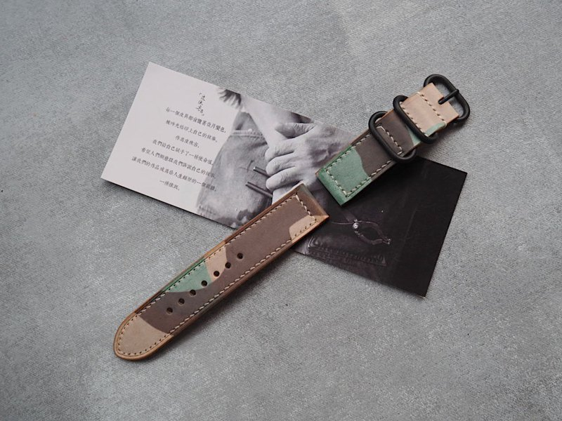 Handmade leather strap simple design style military strap wiping wax camouflage Italian cowhide