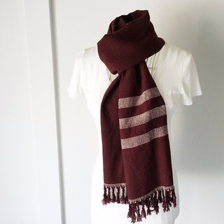 "Unisex hand-woven scarf ""Chocolate with Pink boarders"""