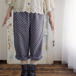 Cat catch dot linen soft processed saruel pants