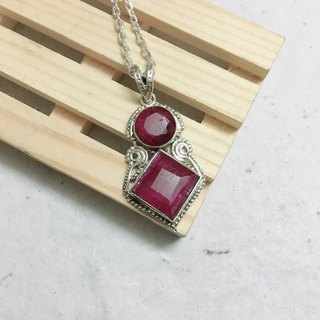 Ruby Pendant Handmade in India 92.5% Silver