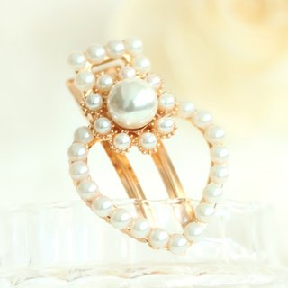 Lovely Heart Shape Pearl Hair Clip