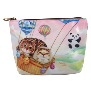 [Henry House Family] linoleum PVC cosmetic bag - hot air balloon (square)