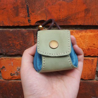Dumplings - leather purse / small bag / jewelry bag - green + blue