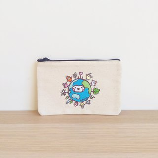 Earth embroidery canvas pouch