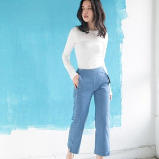 Open Denim Wide Pants Denim Wide Pants - Sky Blue