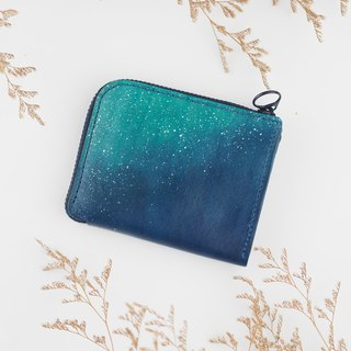 L-Zipper Coin Purse Starry Dark Blue Handmade
