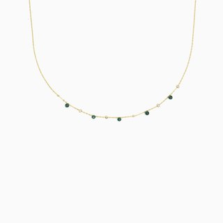 Emerald Twinkle Necklace - Choker Necklace - Gemstone Necklace - Satellite