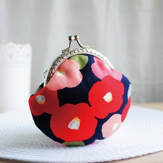 Lovely【Japanese cloth order】Flour & Big Red Camellia, Gold Flower Coin Purse, Dark Blue Bottom