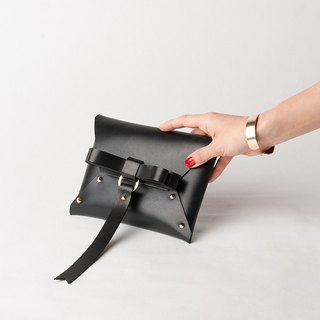 Real Leather BOW CLUTCH  --  BLACK