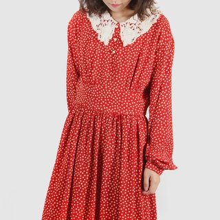 [Egg plant ancient] Yang red lace silk print vintage dress