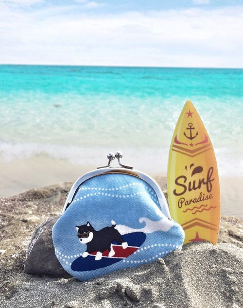 Surf Shiba Inu Small Gold Bag - Black Chai