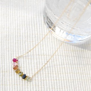 Colorful necklace of tourmaline drop 14 kgf